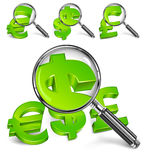 Magnifying glass & money symbol Stock Photography