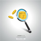 Magnifying glass money symbol. Royalty Free Stock Images