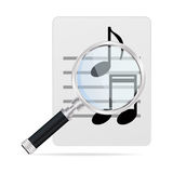 Magnifying glass and musical notes vector illustration