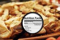 Magnifying glass on nutrition facts Stock Photos