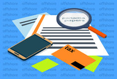 Magnifying Glass Offshore Panama Papers Folder Documents. Office Desk Vector Illustration Royalty Free Stock Photo