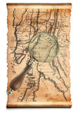 Magnifying glass  and old map Royalty Free Stock Images