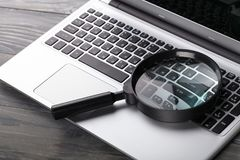 Free Magnifying Glass On Notebook, Digital Background Stock Photos - 111033333