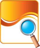 Magnifying glass on orange wave background Royalty Free Stock Photos