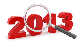 Magnifying Glass Over 2013 Royalty Free Stock Image