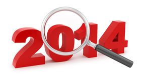 Magnifying Glass Over 2014 Stock Image