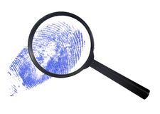 Magnifying glass over a blue finger print Stock Image