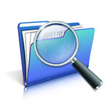 Magnifying glass over the blue folder Stock Photography