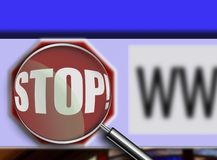 Magnifying Glass over browser window stop button Stock Photos