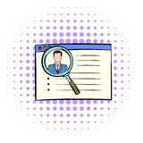 Magnifying glass over curriculum vita icon. In comics style on a white background Royalty Free Stock Images