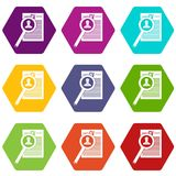 Magnifying glass over curriculum vita icon set color hexahedron Stock Photos