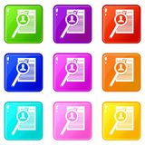Magnifying glass over curriculum vita icons 9 set. Magnifying glass over curriculum vita icons of 9 color set isolated vector illustration Royalty Free Stock Image