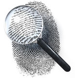 Magnifying glass over dot grid fingerprint. Magnifying glass over fingerprint made of dot grid, 3d rendering Stock Photos