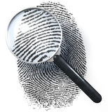Magnifying glass over dot grid fingerprint, showing natural. Magnifying glass over fingerprint made of dot grid showing natural fingerprint, 3d rendering Royalty Free Stock Photos