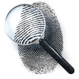 Magnifying glass over finger print. 3d rendering isolated on white background Royalty Free Stock Images