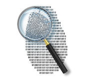 Magnifying glass over finger. Printlike shape made of binary code Stock Images