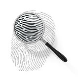 Magnifying glass over finger printlike shape. Made of binary code. 3d illustration Stock Images