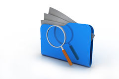 Magnifying glass over the folders Stock Images
