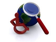 Magnifying glass over globe Stock Images