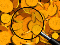 Find Look for Gold. An illustration of a pile of gold coins under a magnifying glass Royalty Free Stock Images