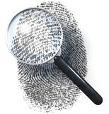 Magnifying glass over 1-0-grid fingerprint. Magnifying glass over fingerprint made of one and zero grid, 1-0-grid, 3d rendering Royalty Free Stock Photos