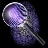 Magnifying glass over 1-0-grid fingerprint, showing natural, uv lit Stock Photography
