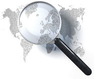Magnifying glass over 1-0-grid world map Stock Image