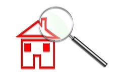 Magnifying glass over a house illustration. Illustration of a Magnifying glass over a house illustration Stock Images