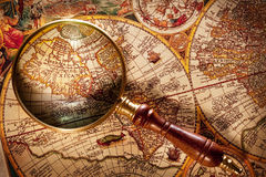 Magnifying glass over map. Royalty Free Stock Images
