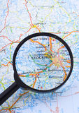 Magnifying glass over the map of Stockholm. Suggesting destination Stock Images