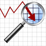 Magnifying glass over negative chart Stock Photo