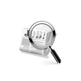 Magnifying glass over a newspaper. Vector Royalty Free Stock Images