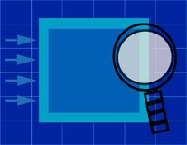 Magnifying glass over presentation folder with grid. And arrows Stock Images