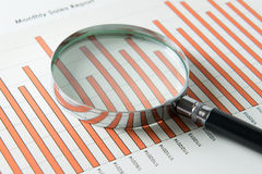 Magnifying glass over sales report Stock Photography