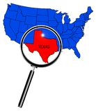 Magnifying Glass Over Texas. An outline map of The United States of America with Texas highlited under a magnifying glass Royalty Free Stock Images