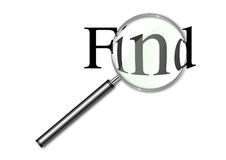 Magnifying glass over the word Find Stock Photo