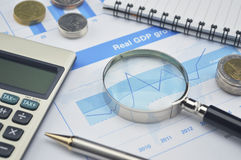 Magnifying glass, pen and calculator on financial chart and grap Stock Images
