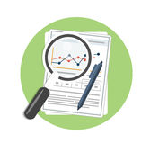 Magnifying glass, pen and chart. Business concept of analyzing Royalty Free Stock Images