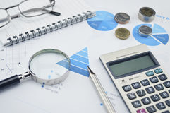 Magnifying glass, pen, glasses and calculator on financial chart Royalty Free Stock Images