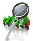 Magnifying glass and people. Magnifying glass and the people when you make a business-related information, and the search Royalty Free Stock Photos