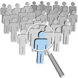 Magnifying Glass Person Searches Find Man. A magnifying Glass to search a group company or population of symbol people to find a leader stock illustration