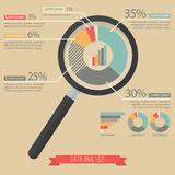 Magnifying glass and pie chart infographic. Vector Illustration Stock Images