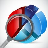 Magnifying glass and pie chart Royalty Free Stock Image