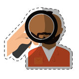 magnifying glass on prisoner criminal investigation icon image Royalty Free Stock Photo
