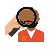 magnifying glass on prisoner criminal investigation icon image Royalty Free Stock Photos