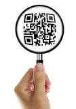 Magnifying glass with qr-code Stock Photo
