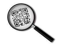 Magnifying glass with qr-code Stock Image