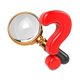 Magnifying Glass with Question Mark. Royalty Free Stock Photo