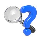 Magnifying Glass with Question Mark. Royalty Free Stock Photos