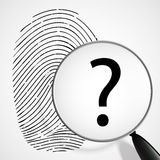 Magnifying glass with a question mark and fingerprint Royalty Free Stock Image